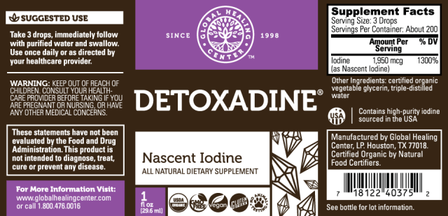 GHC Detoxadine Organic Nascent Iodine - supplement facts