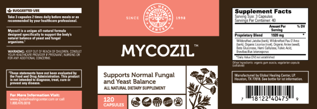 Mycozil All-Natural Non-GMO Yeast & Fungal Cleanser - supplement facts