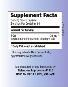 Relentless Improvement All-Natural Non-GMO PQQ (20 mg) - supplement facts