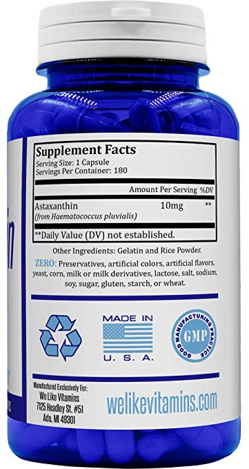 We Like Vitamins All-Natural Non-GMO Astaxanthin - supplement facts