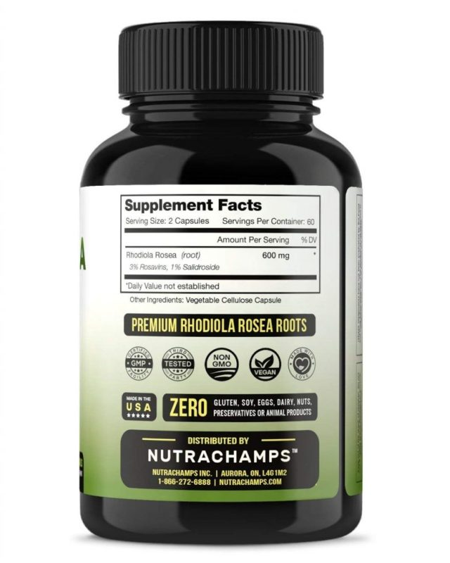 Nutra Champs All Natural Non-GMO Siberian Rhodiola Rosea - supplement facts