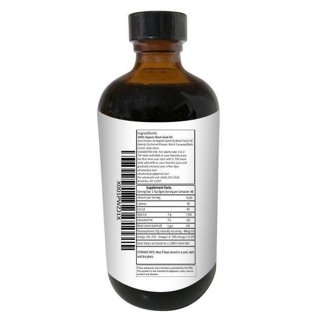 Alive Herbals Organic Cold-Pressed Black Cumin Seed Oil - supplement facts