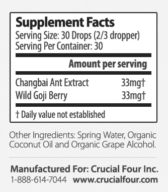 Crucial Four All Natural Non-GMO Ant Extract - supplement facts