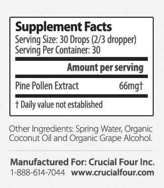 Crucial Four All Natural Non-GMO Pine Pollen Extract Tincture - supplement facts