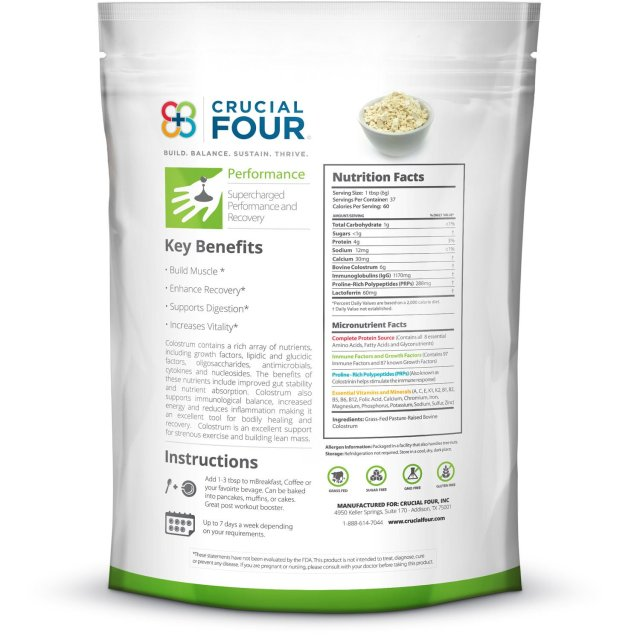 Crucial Four All Natural Non-GMO Grass-Fed Colostrum Powder - supplement facts
