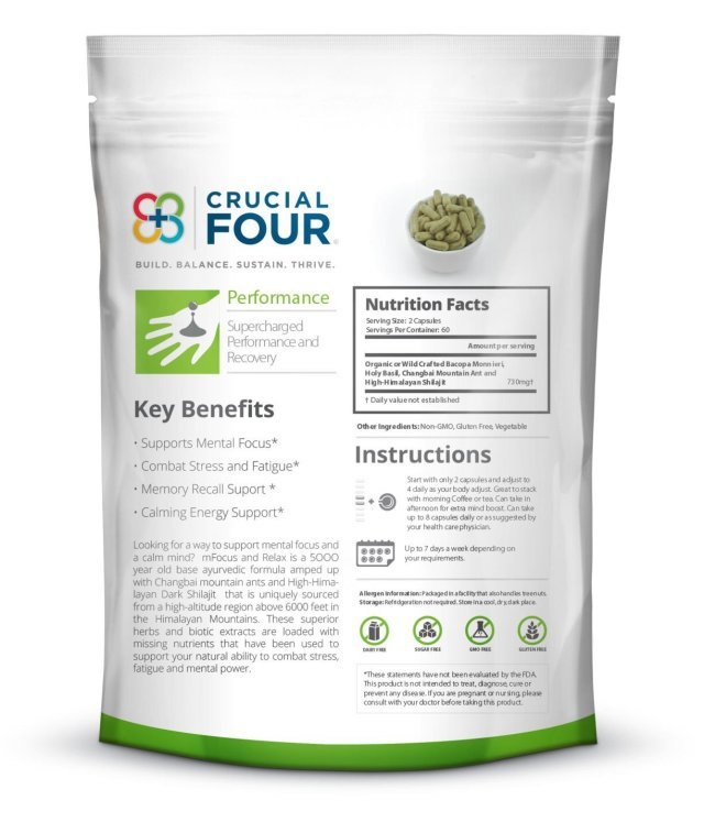 Crucial Four All Natural Non-GMO mFocus & Relax - supplement facts