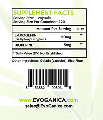 Evoganica All-Natural Plant Derived Laxogenin (50 mg) - supplement facts