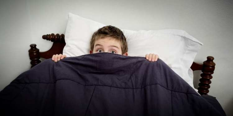 Boy hiding in bed under the covers