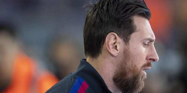 BARCELONA, SPAIN - March 7:   Lionel Messi #10 of Barcelona leads his team onto the field during the Barcelona V Real Sociedad, La Liga regular season match at Estadio Camp Nou on March 7th 2020 in Barcelona, Spain. (Photo by Tim Clayton/Corbis via Getty Images)