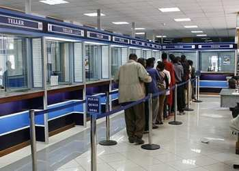 A customer queing into Family bank banking hall along Kenyatta Avenue in Nairobi. Fredrick Onyango