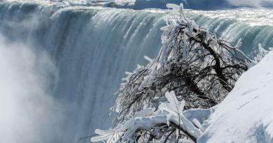 Частково замерз Ніагарський водоспад