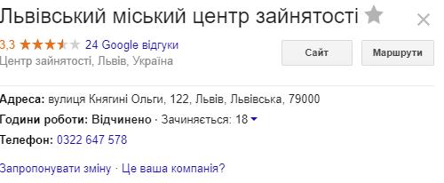 Адреса Львівського центру зайнятості
