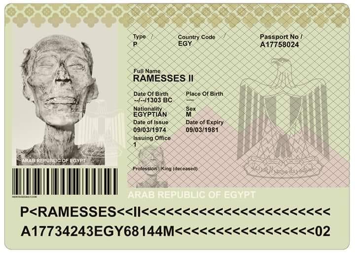 Єгипетський фараон Рамзес ІІ Великий має сучасний паспорт