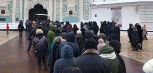 Черга вірян до Софії Київської, де було виставлено для ознайомлення Томос про автокефалію ПЦУ.