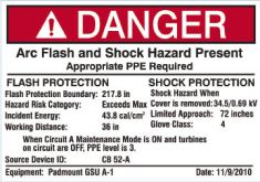 Arc Flash Label 1