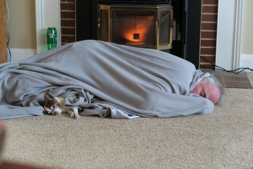 digger and greg sleeping in front of the pellet stove