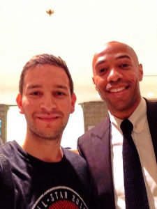 David Pick with french soccer superstar Thierry Henry.