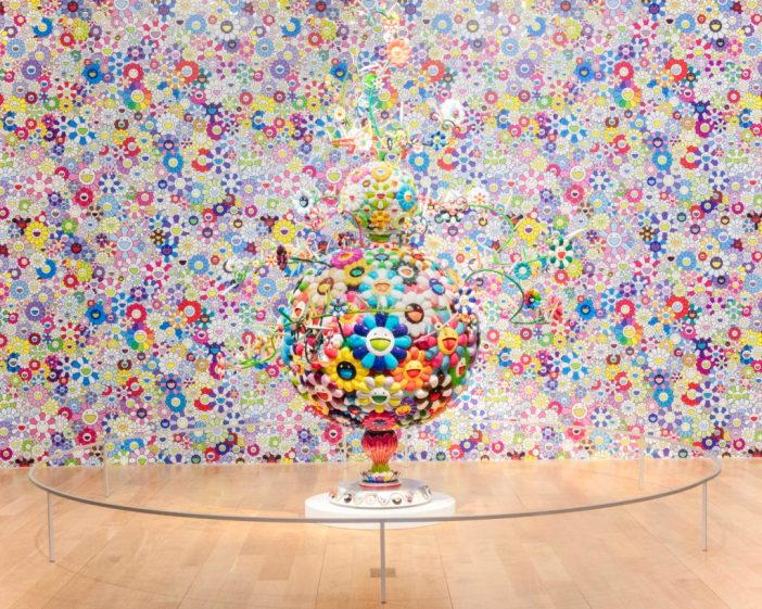 Takashi Murakami Flower Matango (d), 2009 Oil paint, acrylic, fiberglass and iron Overall: 124 × 103 9/16 × 80 1/2 in. (315 × 263 × 204.4 cm) ©2009 Takashi Murakami/Kaikai Kiki Co., Ltd. All Rights Reserved. Courtesy Perrotin Takashi Murakami Cosmos, 2003 Hand silk-screened wallpaper Dimensions variable Sheet: 45 1/4 × 60 1/4 in. (114.94 × 153.04 cm), twenty sheet set ©2003 Takashi Murakami/Kaikai Kiki Co., Ltd. All Rights Reserved. (Background Wallpaper)