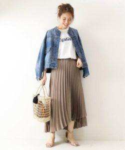 【Spick&Span】サテンラッププリーツスカート
