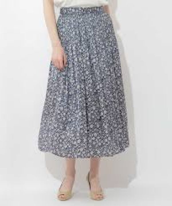 OFUON シャーリングデザインスカート ネイビー
