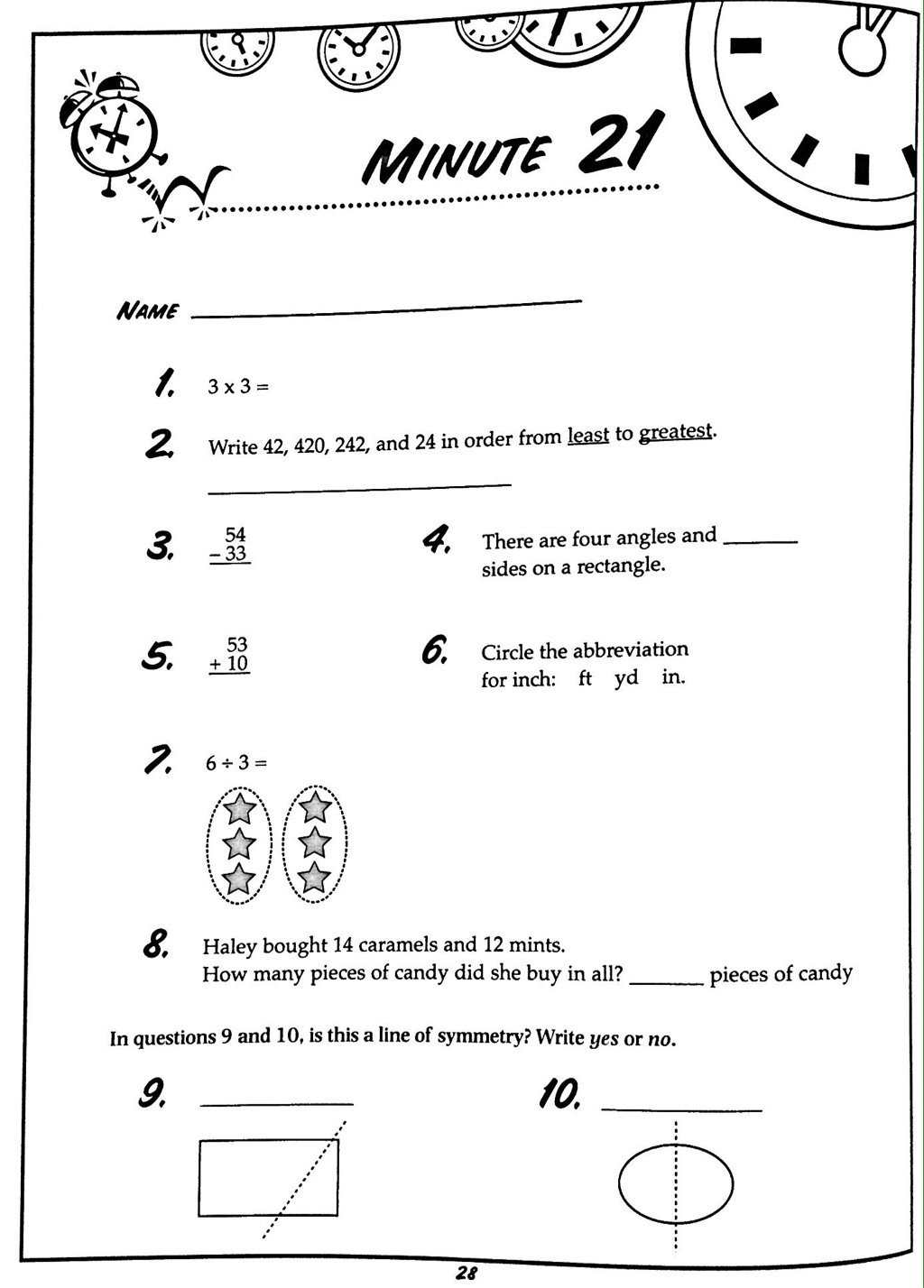 Math Minute Worksheet 8th Grade