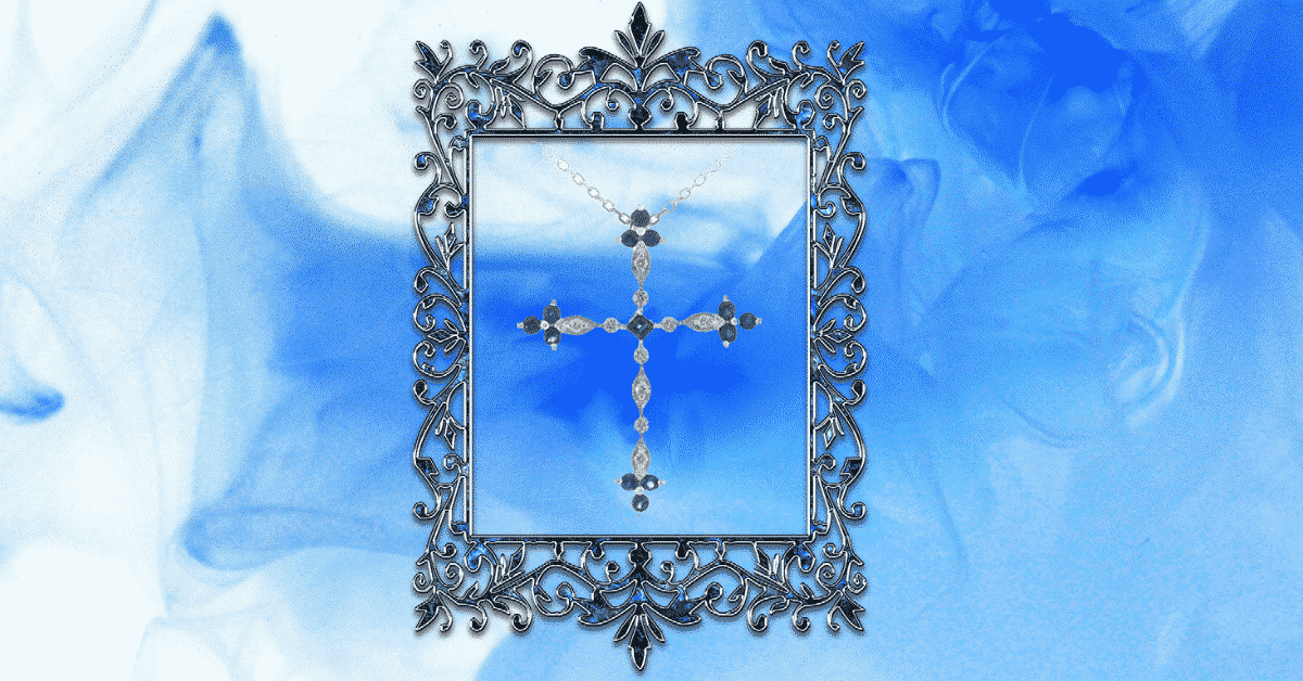 Fred Meyer jewelers Sapphire diamond cross necklace 3rd party people graphic design