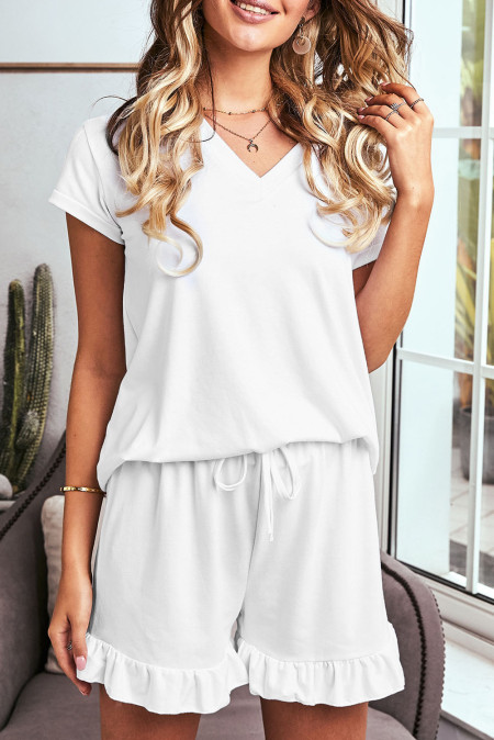 Super Soft T-shirt Ruffle Shorts Lounge Set in 2colors white, gray