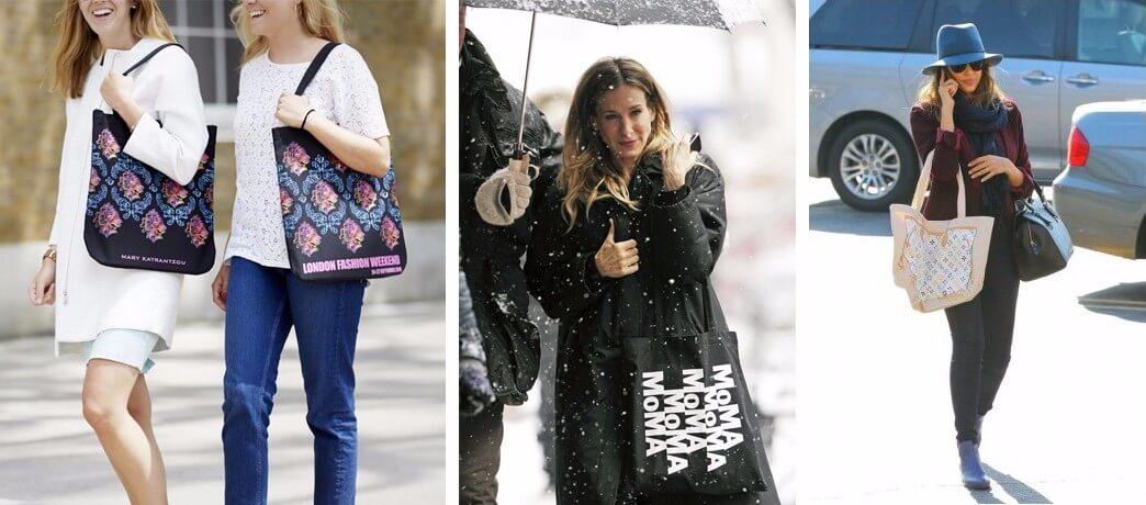 Celebrities in printed tote bags