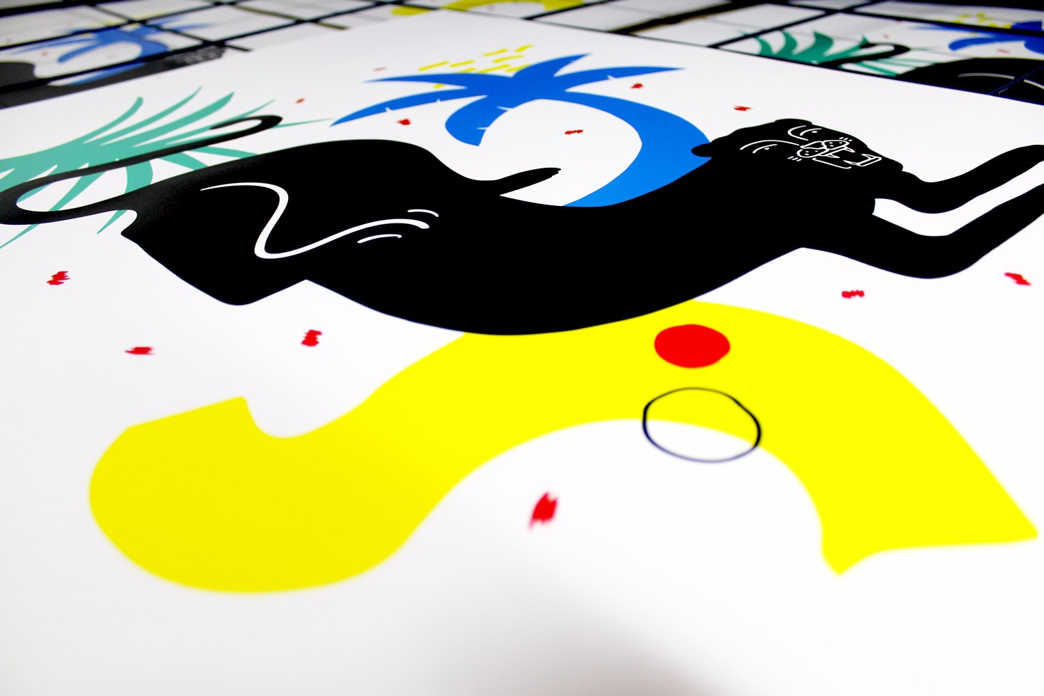 A close up of 'Big Cat', a 5 colour screen print designed by Felicity Marshall and published by 3rd Rail.