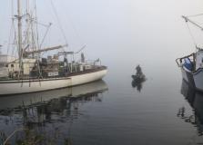 emerging rowboat
