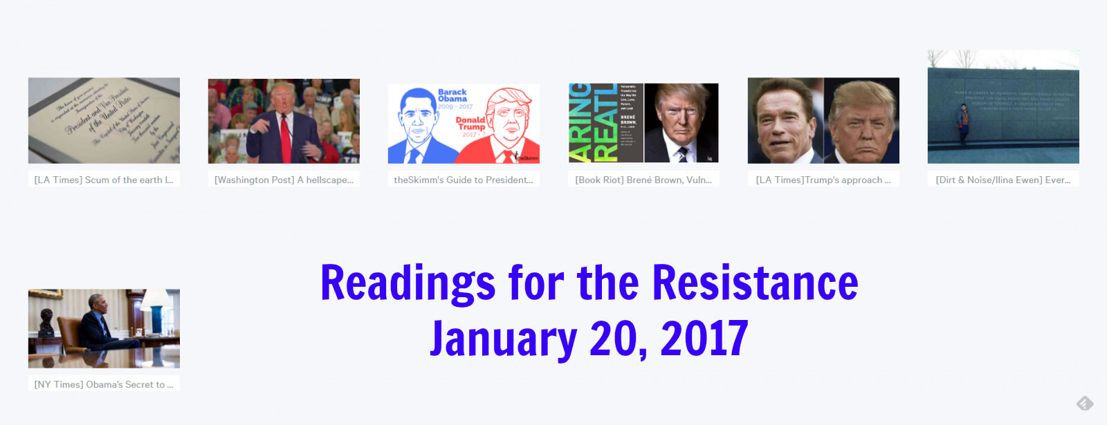 Reading for the Resistance: Links 1-20-2017