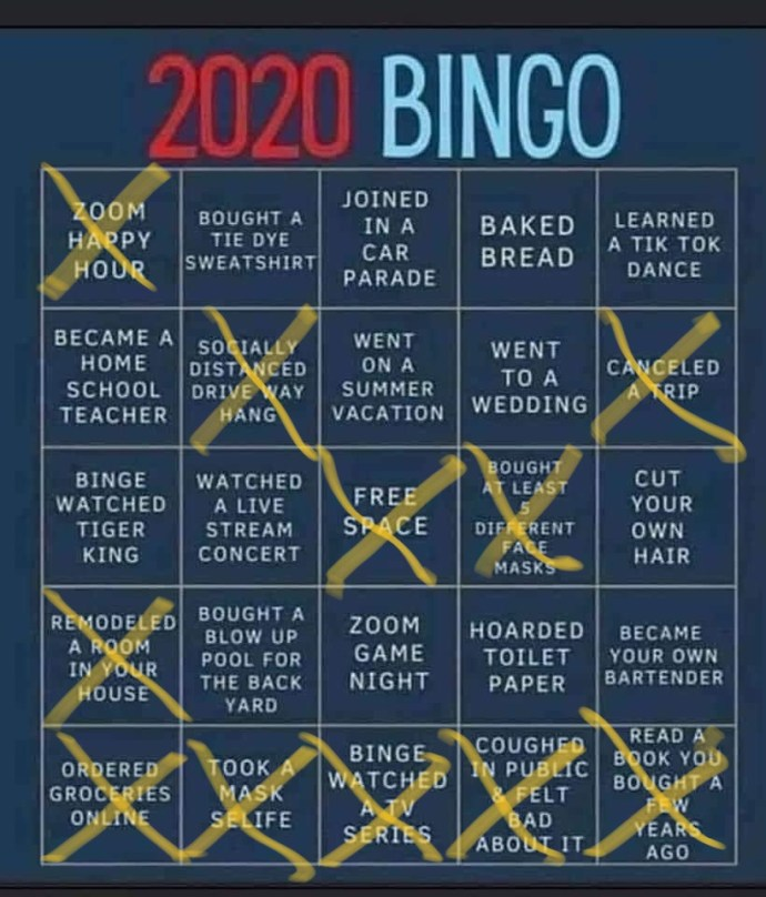 2020 Bingo card