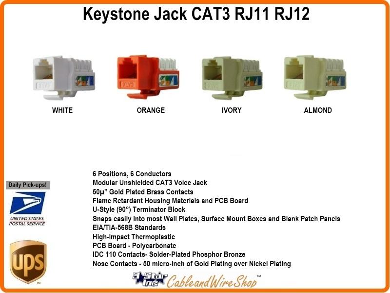 CAT3 /RJ11 /RJ12 Keystone Voice Jack Almond U