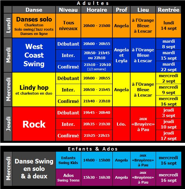 Planning des cours de danse 3step 2020/2021