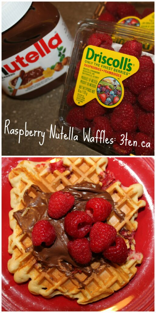 Raspberry Nutella Waffles: 3ten.ca #nutella #waffles #breakfast
