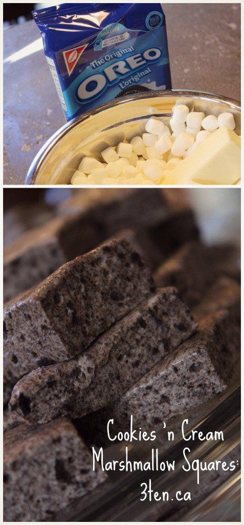 Cookies 'n Cream Marshmallow Squares: 3ten.ca #oreo #treat