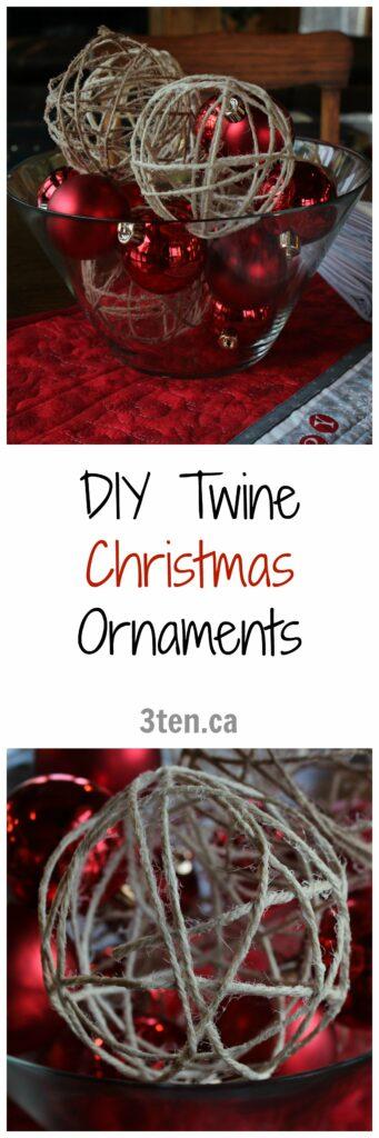 DIY Twine Christmas Ornaments: 3ten.ca