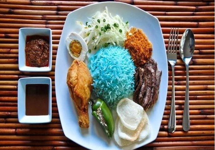 Blue colored rice