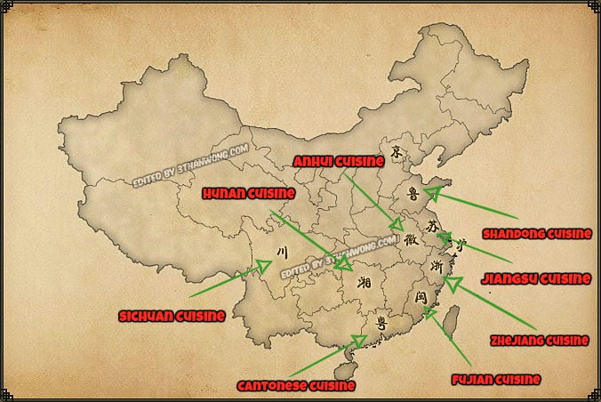 Eight Cuisine of China Map