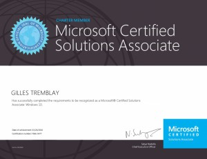 Microsoft Certified Solutions Associate - Windows 10 (Charter)