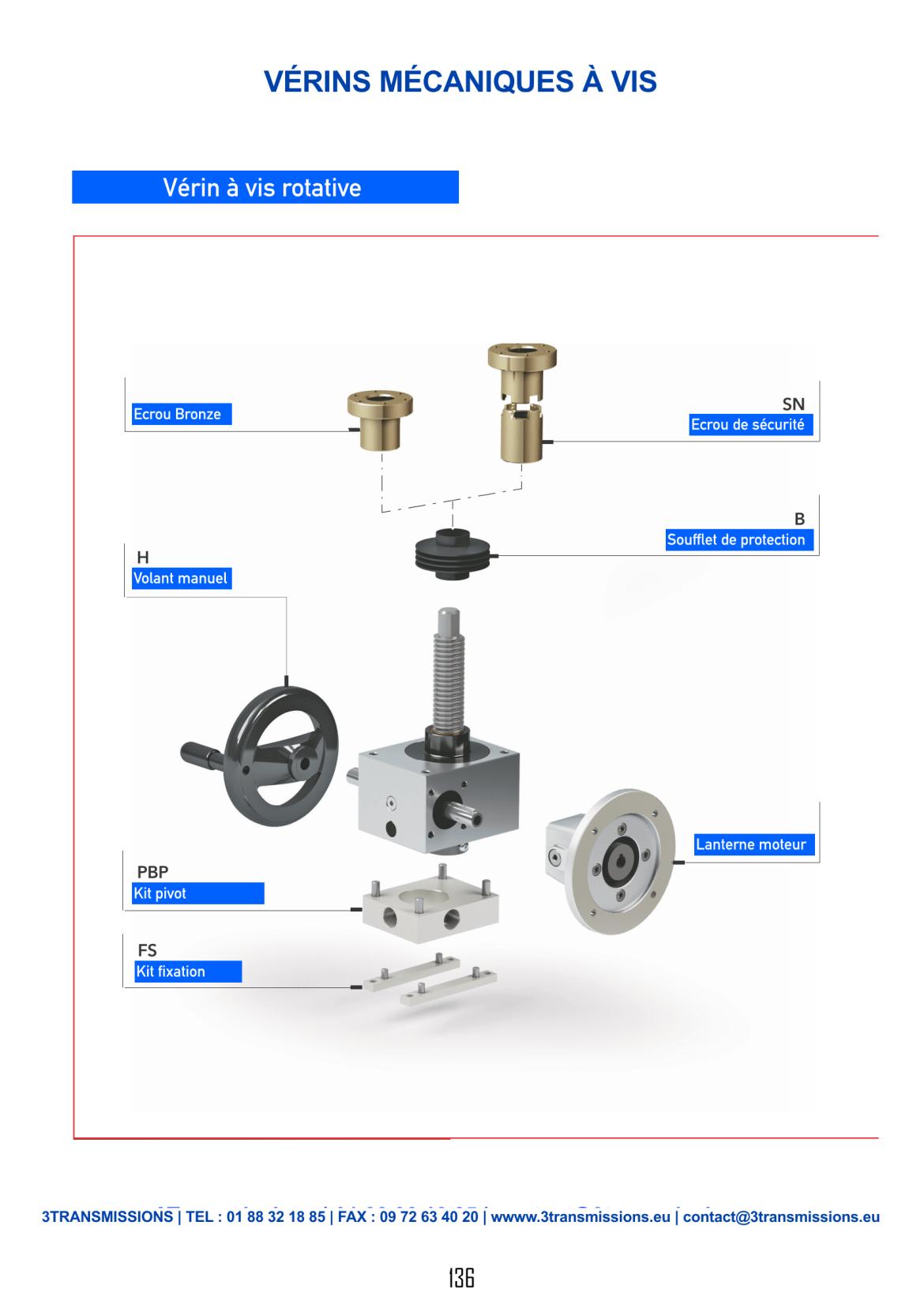 Catalogue 3Transmissions - vérin mécanique à vis manuel