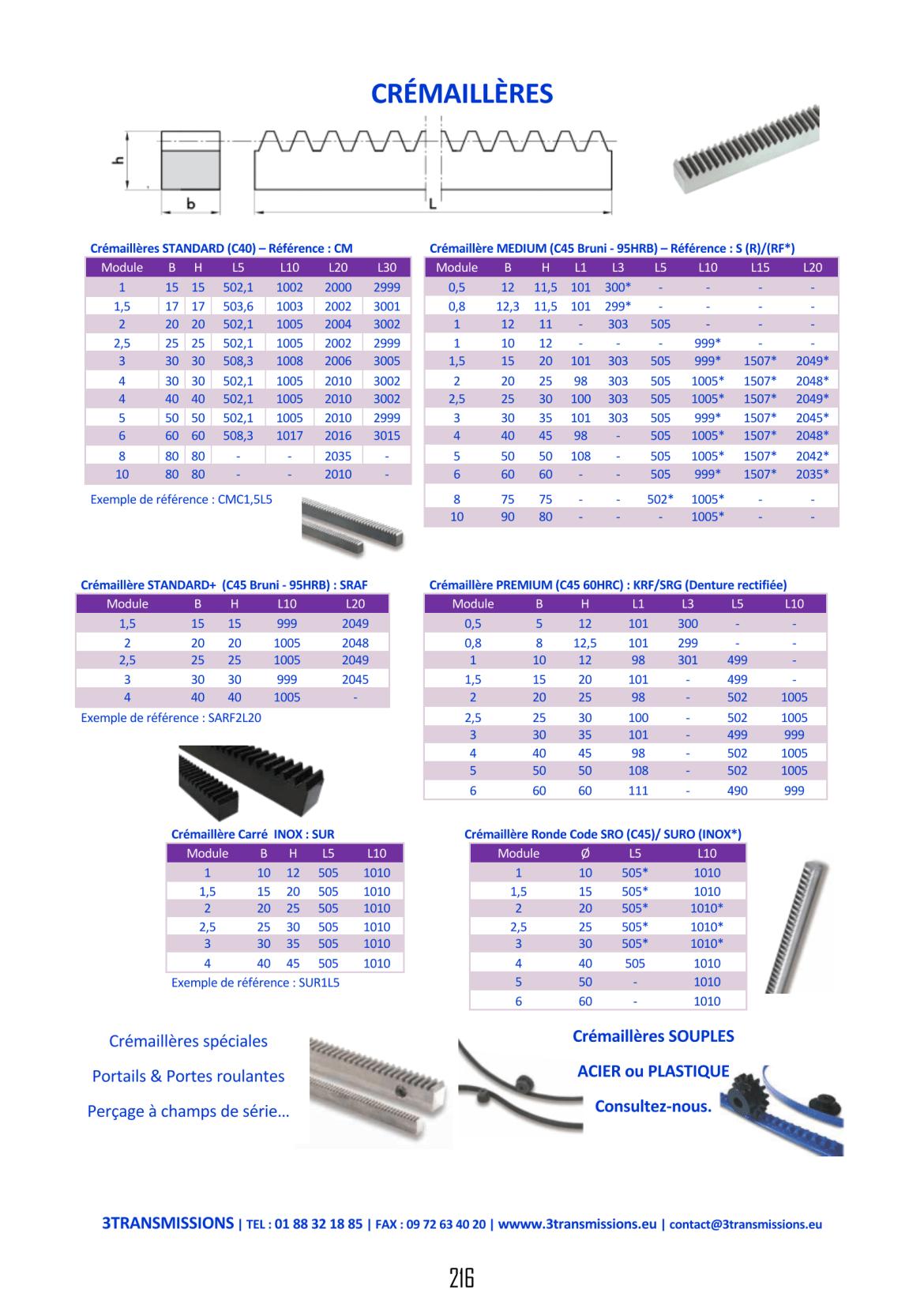 Catalogue 3Transmissions - Crémaillères acier, Crémaillères Inox