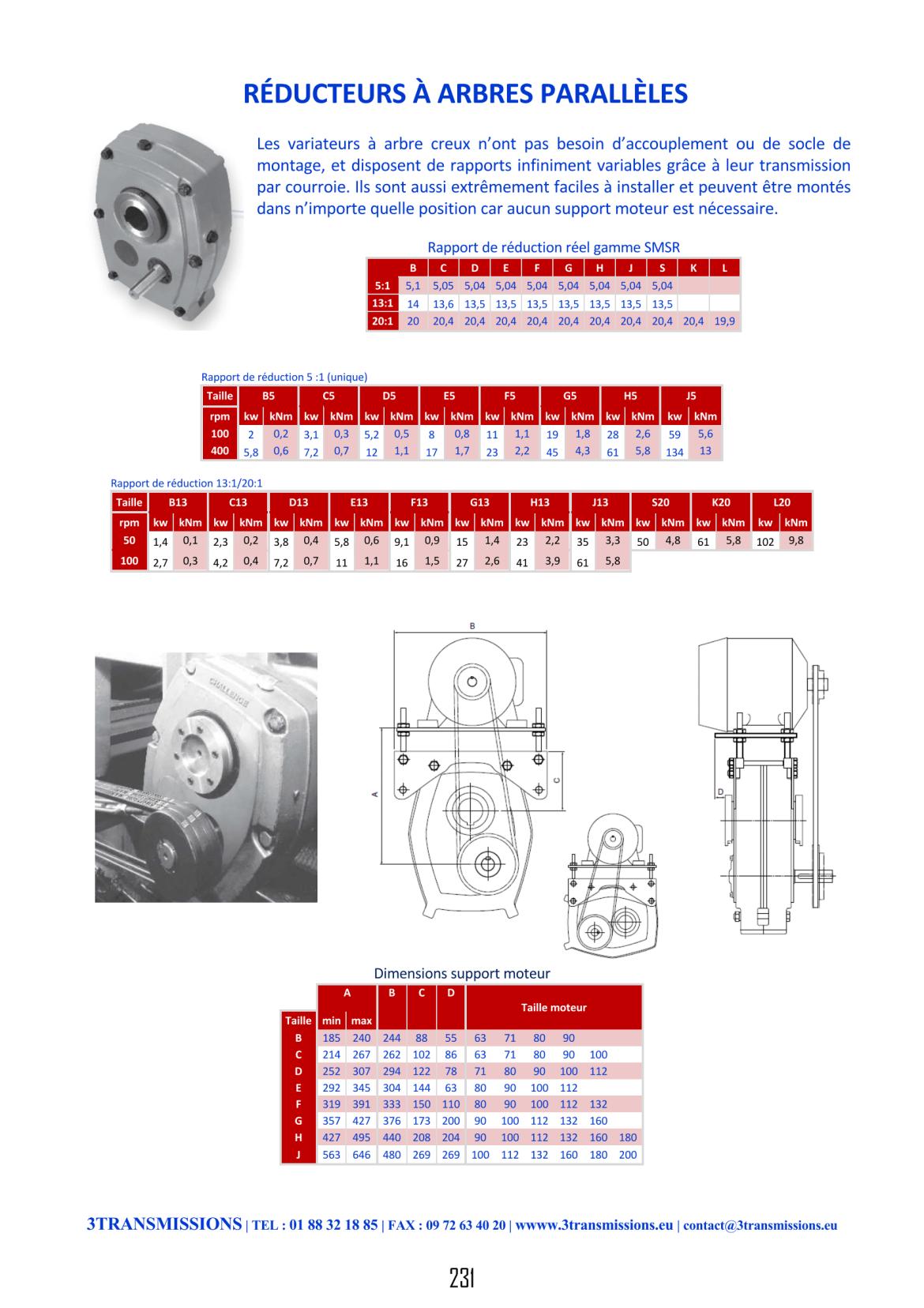 Réducteur de vitesse à arbre parallèle