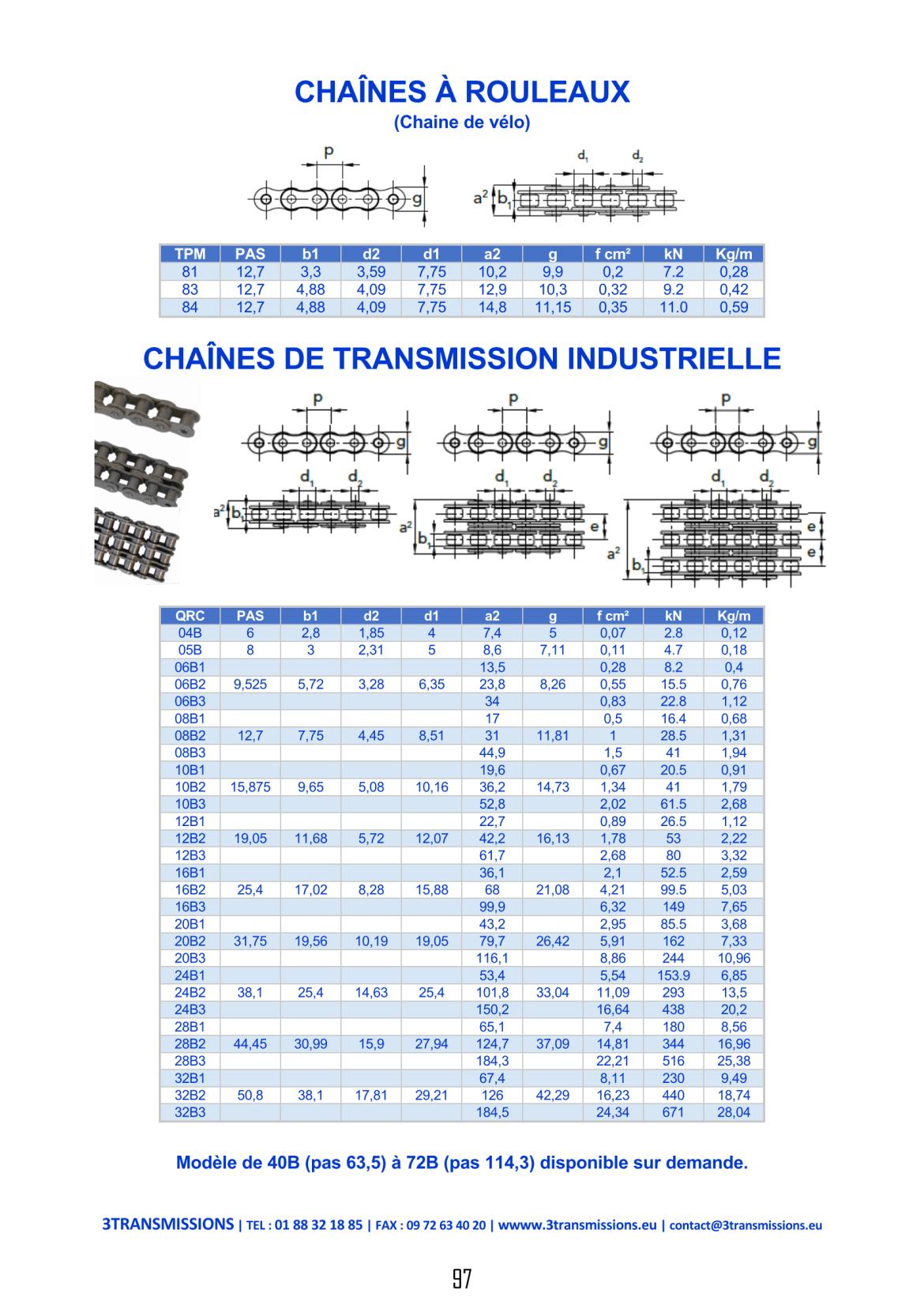 Catalogue 3Transmissions - Chaine de transmission industrielle