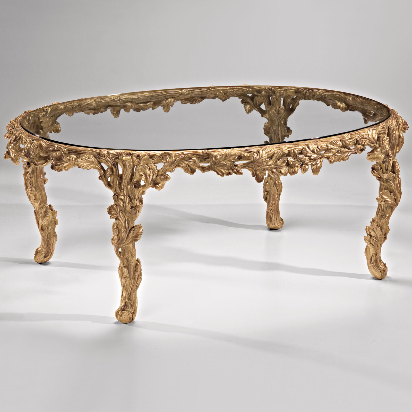carved oval coffee table