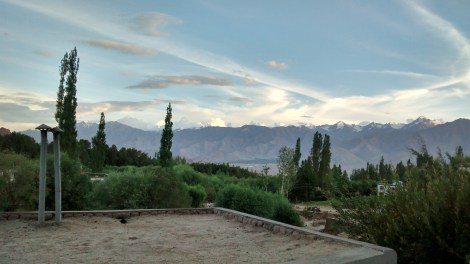 The view from our B&B - the mighty Himalayas tower over the Leh valley