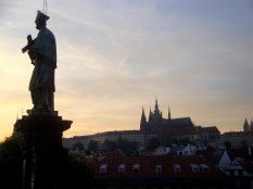 Sunset at the (very crowded) Charles Bridge, with the spires of the Castle in the background