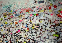 Juliet's Wall, Verona - hastily written last-minute love letters (stuck with chewing gum, more often than not)