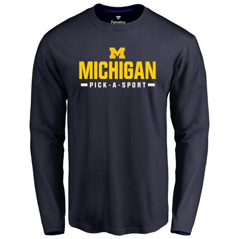 michigan wolverines long sleeve shirt - pick any sport 3xl-6xl, xlt-5xlt