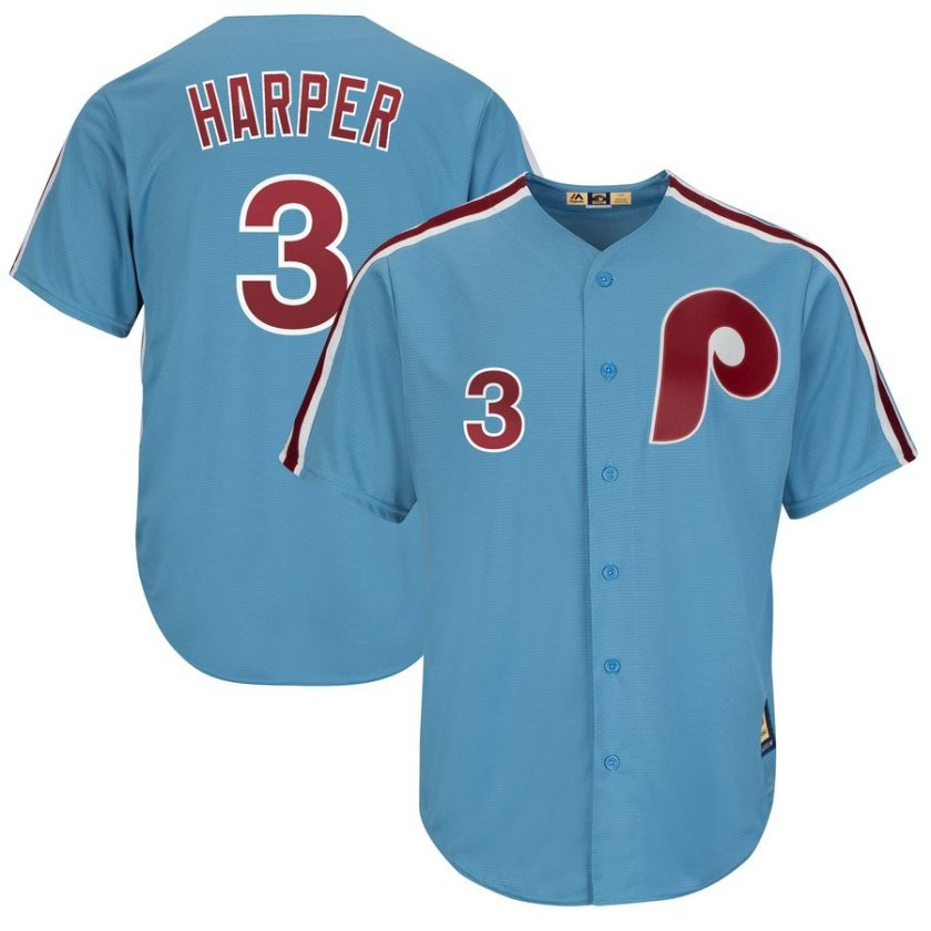 blue throwback bryce harper phillies jersey by majestic in S-2X 3X 3XL 4X 4XL